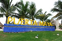 Sign for Puerta Maya and Cozumel Mexico