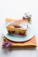A piece of plum clafoutis