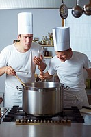 Two chefs standing by range