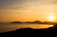 Sunset over the sea, Adriatic Sea, Dubrovnik, Dalmatia, Croatia