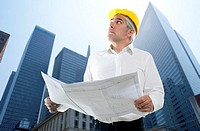 expertise architect senior engineer plan looking up city construction buildings