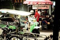 Auto rickshaw in front of a snack bar, Bangkok, Thailand