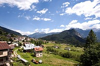 View of Valle di Cadore, Venetia, Italy, elevated view