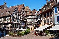 Half_timbered houses in the old town of Colmar, France, elevated view