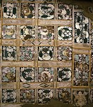 Detail of motifs on ceiling inside Cave No.17, Ajanta, UNESCO World Heritage Site, Maharashtra, India, Asia