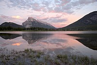 Mount Rundle at sunset reflected in Vermillion Lake, Banff National Park, UNESCO World Heritage Site, Alberta, Rocky Mountains, Canada, North America