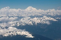 Aerial photo of the Himalayas with the world´s third highest mountain, Kanchenjunga, Bhutan, Asia