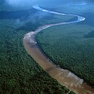 Aerial image of the Lower Mazaruni River south of Oranapai Landing, Guyana, South America