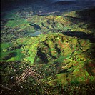 Aerial view of intensive agriculture in Rwanda, Africa