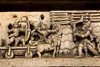 A bas relief detail showing Hoysala style warfare in the Hoysaleshvara Temple at Halebid, Karnataka, India, Asia