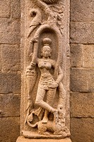 The stone figure of the goddess Ganga Ganges in the Five Rathas Panch Rathas complex at Mahabalipuram Mamallapuram, Tamil Nadu, India, Asia