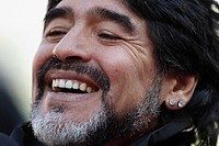 JOHANNESBURG - JUNE 17: Argentina Coach Diego Maradona seen prior to a 2010 FIFA World Cup football match between Argentina and the Korea Republic Jun...