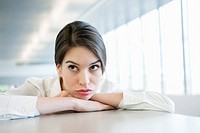 Close_up of a businesswoman looking sad