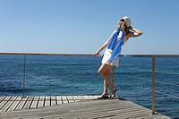 Woman in Praia de Vale de Centeanes, Carvoeiro, Lagoa, Algarve, Portugal