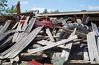 Dundee, Michigan - A farm shed collapsed on a tractor by a tornado