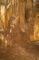 BARRANC DE BINIGAUS MENORCA Stalactites and stalagmites insided limestone gorge valley cave