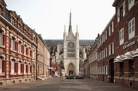 View of one of the Gothic tower of Cathedral Notre Dame from old town, Amiens, Picardy, France