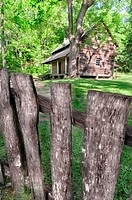 The Tipton Cabin - A Pioneer era log cabin located in cades cove, Great Smoky Mountains National Park, Tennessee, USA