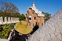 Pavilion in Park Güell by architect Gaudi, Barcelona, Catalonia, Spain