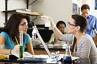 High school students conducting experiment in chemistry class