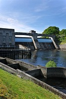 The Pitlochry fish ladder, showing several of the intermediate pools which the salmon use for travelling upstream, next to the Pitlochry Power Station...