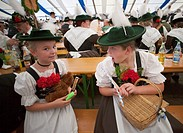 Germany, Bavaria, Munich, Oktoberfest, Girls in Bavarian Costume