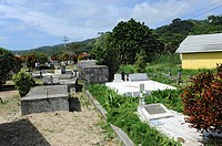 Above ground burial cemetery near Caribbean Cruise ship in Isla Roatan Honduras Central America