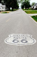 Route 66 symbol on road along Route 66 Mt  Olive Illinois