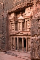view of the magnificent Treasury in Petra, the UNESCO World Heritage Site in Jordan