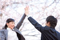 Business people giving a high_five under cherry blossoms