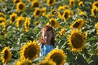 sunflowers, girl, look, closer, getting, young