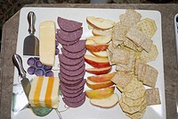 party, cheese, slices, apple, meat, crackers