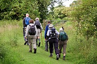 group of six late middle aged walkers with day rucksacks on field path towarde gate