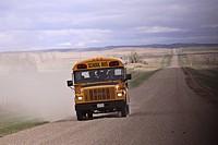 canada, gravel, saskatchewan, scenic, road, schoolbus