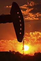pump, setting, oil, mission, behind, sun