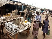 dried, person, selling, zambia, fish, people