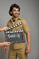 Actor portraying Gabbar Singh on a movie set