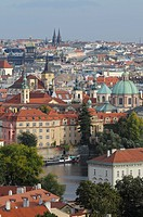 Panorama of old part of Prag with red roots