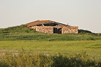 saskatchewan, old, scenic, building, farm, collapsed
