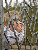 fence, girl, behind, little, posing, pretty