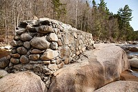 Pemigewasset Wilderness - Remnants of Trestle 17 along the East Branch of the Pemigewasset River in Lincoln, New Hampshire USA  Testle 17 was located ...
