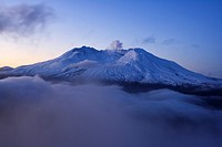 Autumn sunrise over Mt  St  Helens volcano which erupted in 1980, and created almost moon like landscape to which life is slowly finding it's way back