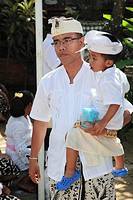 Indonesia, Bali, Galungan festival, religious ceremony, father and son, people,
