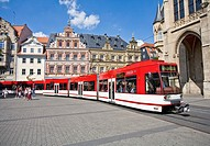 Streetcar on main square in Erfurt