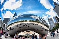 Cloud Gate The Bean in Millennium Park Chicago Illinois USA