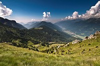 Italy, Trentino-Alto Adige, Dolomites , Val Rendena, Dolomites range in background