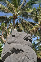 Kuta Beach (Bali, Indonesia): sculpture at the entrance of a restaurant by the beach