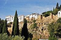 at the Old Bridge, El Puente Viejo, Ronda, province Malaga, Andalucia, Andalusia, Spain, Europe