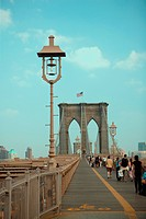 Group of people walking on a bridge, Brooklyn Bridge, New York City, New York State, USA