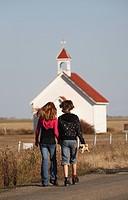 people children young girls walking saint church